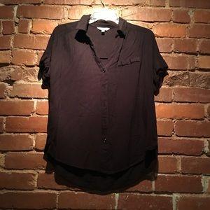 Black Short-Sleeve Collared Blouse